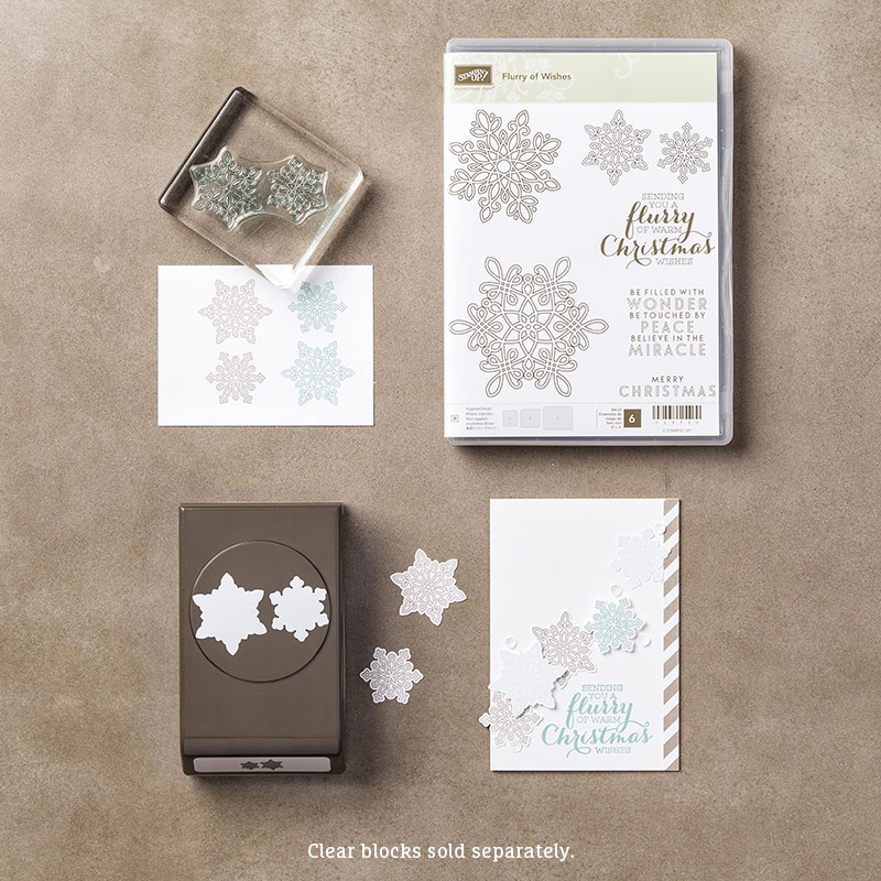Flurry of Wishes stamp set & Snow Flurry punch BUNDLE