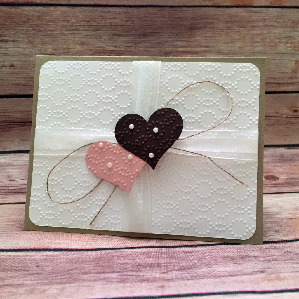 Debbie Catlett, Candy Heart, made this card using the Elegant Dots embossing folder and Sweetheart punch by Stampin' Up! #stampcandy