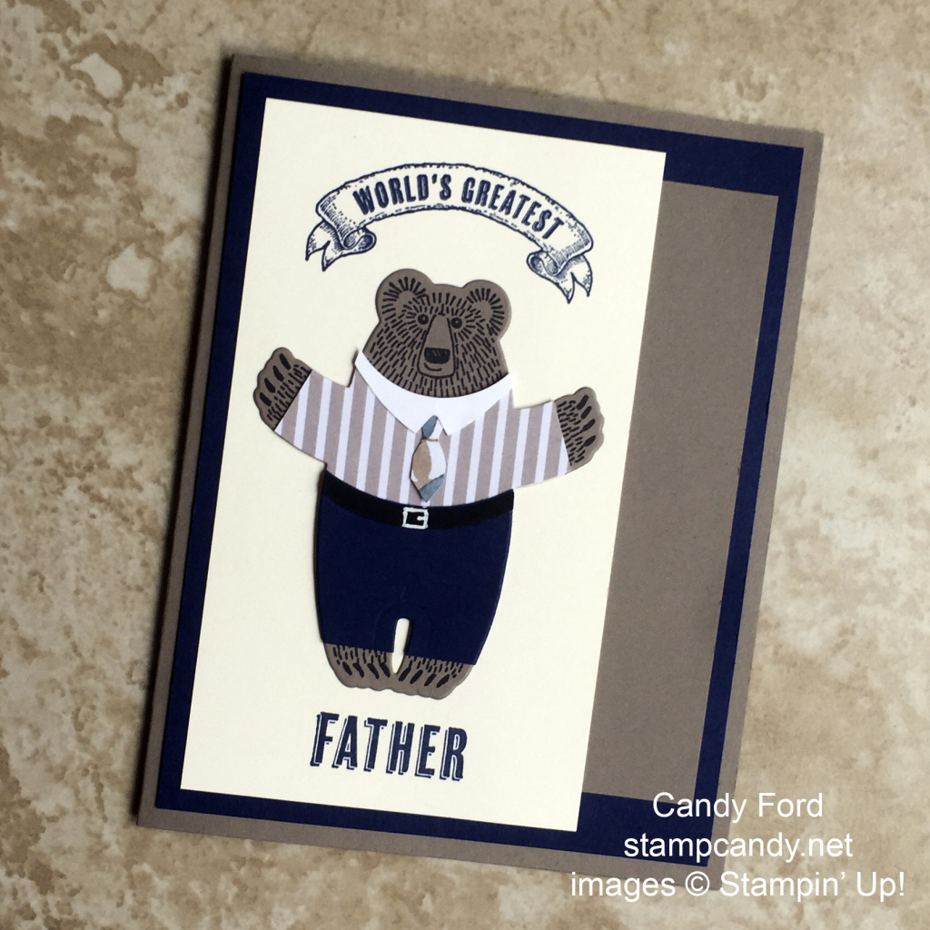Bear Hugs, Papa Bear, Stampin' Up!, by Candy Ford