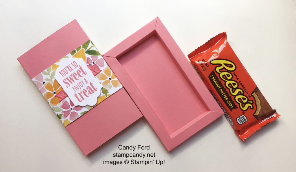 Click through to my web site for details on how to make this sliding treat box! stampcandy.net, Stampin' Up, Fruit Stand DSP patterned paper, Ruched Ribbon, Lots of Labels Framelits dies, You're So Sweet stamp set, gift, gift box, candy gift, tutorial