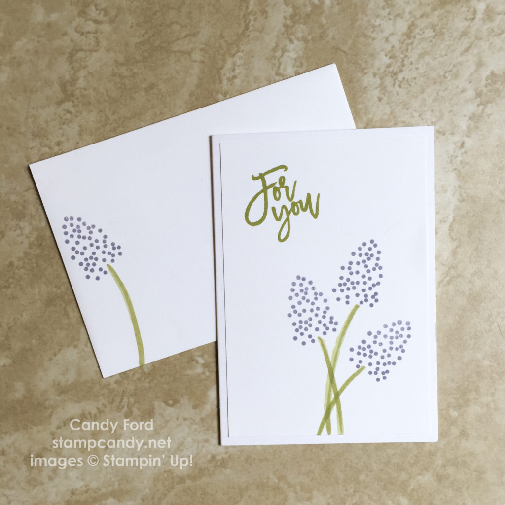 Click through to stampcandy.net for details! Thoughtful Branches bundle, flower note card & envelope, Stampin' Up!, Pear Pizzazz, Wisteria Wonder, For You, handmade card, crafts, diy, cardmaking, papercrafts