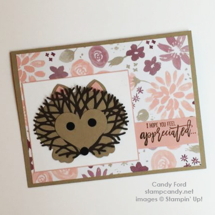 Click through to stampcandy.net for details! Stampin' Up!, Thoughtful Branches bundle, Blooms & Bliss DSP, hedgehog, handmade crd, crafts, diy, cardmaking