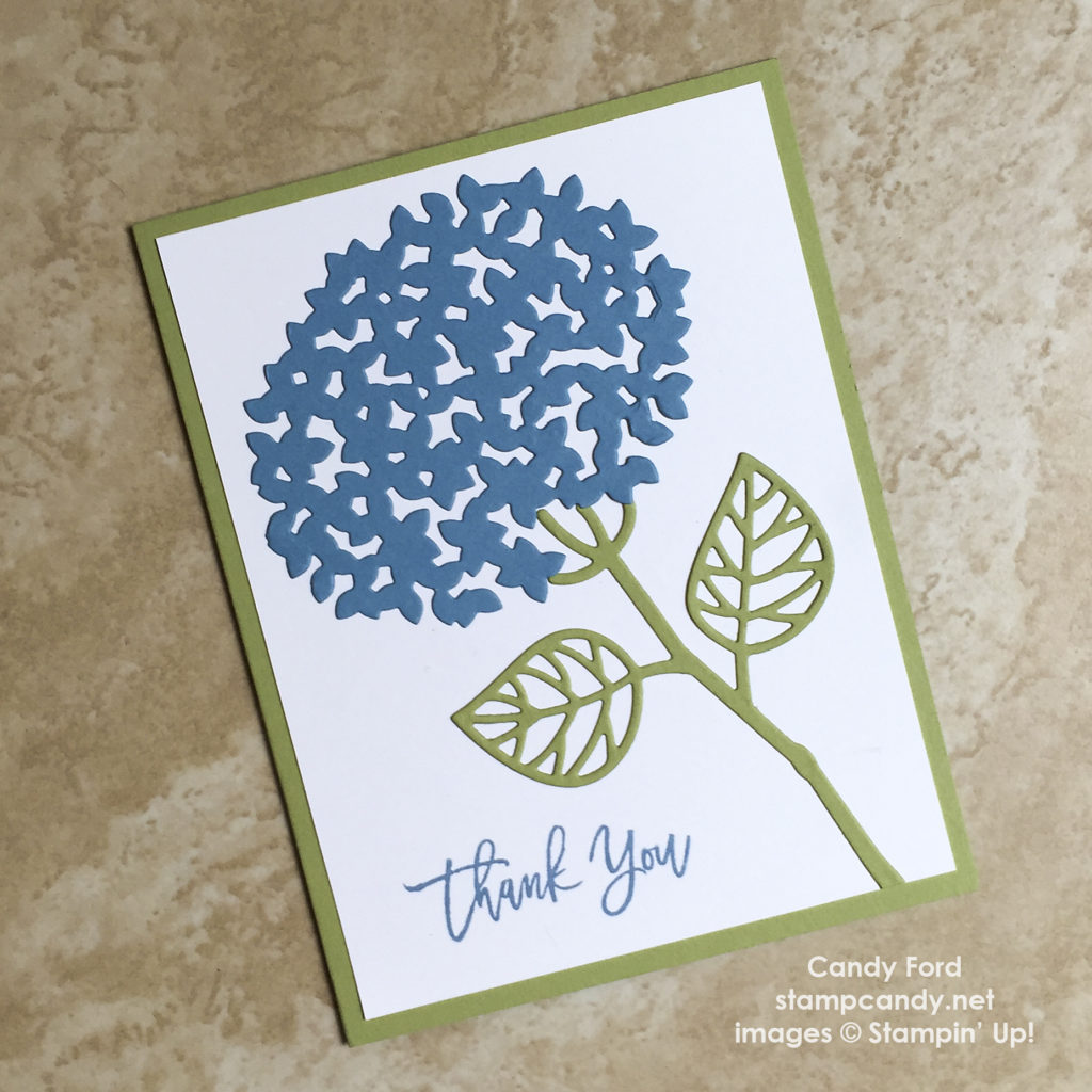 Click through to stampcandy.net for details! Thoughtful branches bundle, hydrangea, Stampin' Up!, thank you card, handmade card, cardmaking, crafts, diy, papercrafts