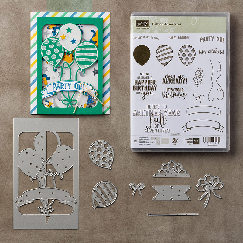 Come to stampcandy.net to check out the Balloon Adventures bundle and the Party Animal Designer Series Paper DSP by Stampin' Up! #stampcandy