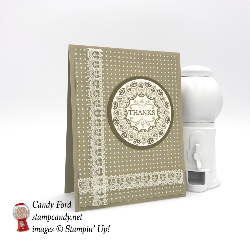 "Make a Medallion stamp set, Very Vanilla 1/2"" Lace Ribbon, Party Animal DSP, Layering Circles Framelits, Soft Suede, Crumb Cake #stampcandy #stampinup"