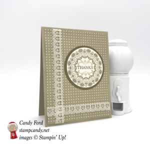 """Make a Medallion stamp set, Very Vanilla 1/2"""" Lace Ribbon, Party Animal DSP, Layering Circles Framelits, Soft Suede, Crumb Cake #stampcandy #stampinup"""