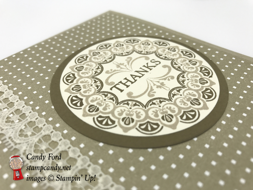 """Make a Medallion stamp set, Party Animal DSP, Very Vanilla 1/2"""" Lace Ribbon, Layering Circles Framelits, Soft Suede, Crumb Cake #stampcandy #stampinup"""