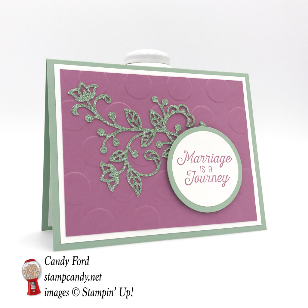 Learn to make this beautiful card using the Flourishing Phrases bundle and the new 6x6 Glimmer Paper by Stampin' Up!