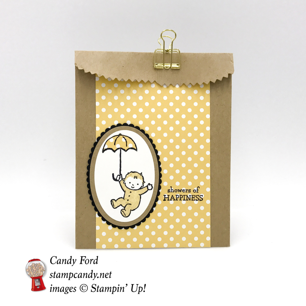 Make this sweet little gift bag with the Moon Baby stamp set by Stampin' Up! #stampcandy