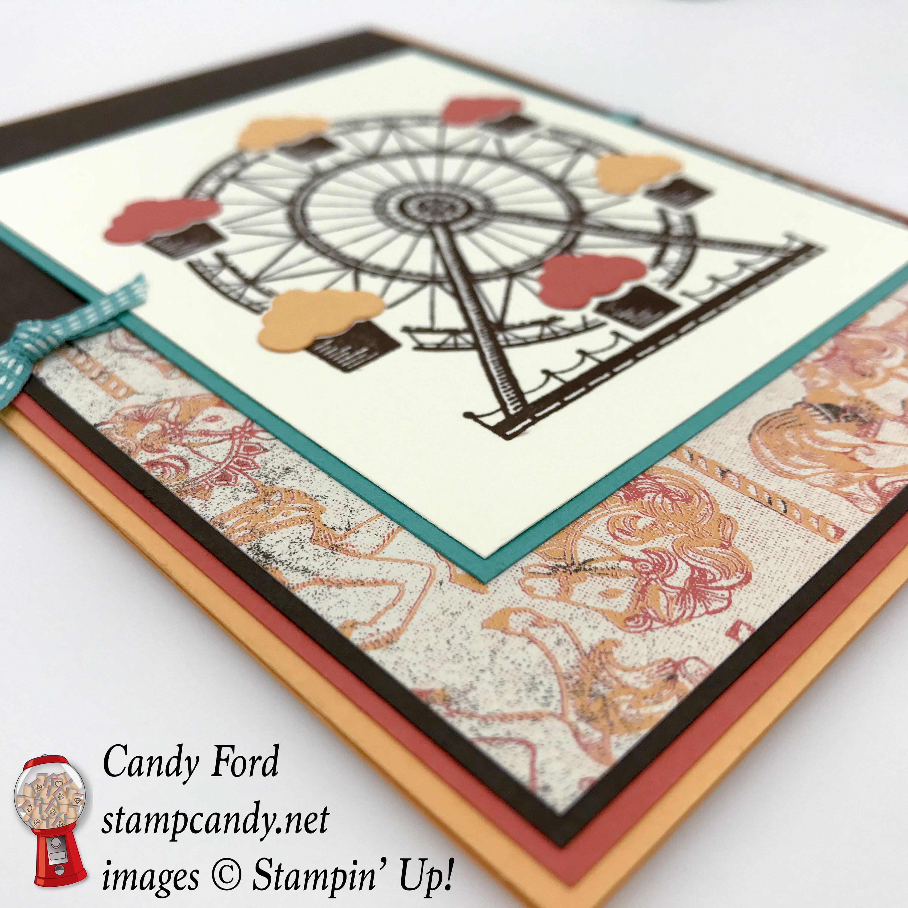 Come to stampcandy.net to learn how to make this fun birthday card using the Carousel Birthday stamp set, Cupcakes & Carousels DSP, Up & Away Thinlits Dies, #stampcandy