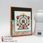 """Learn how to make this birthday card with Carousel Birthday stamp set, Cupcakes & Carousels paper, Up & Away Thinlits Dies, Peekaboo Peach, Calypso Coral, Early Espresso, Bermuda Bay, Very Vanilla, Bermuda Bay 1/8"""" stitched ribbon #stampcandy"""