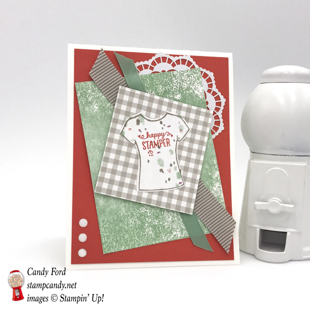 Come to stampcandy.net to learn how to make this card with Designer Tee stamp set, Lace Doilies, White Perfect Accents, Succulent Garden DSP, Tip Top Taupe and Mint Macaron ribbons. #stampcandy #stampinup