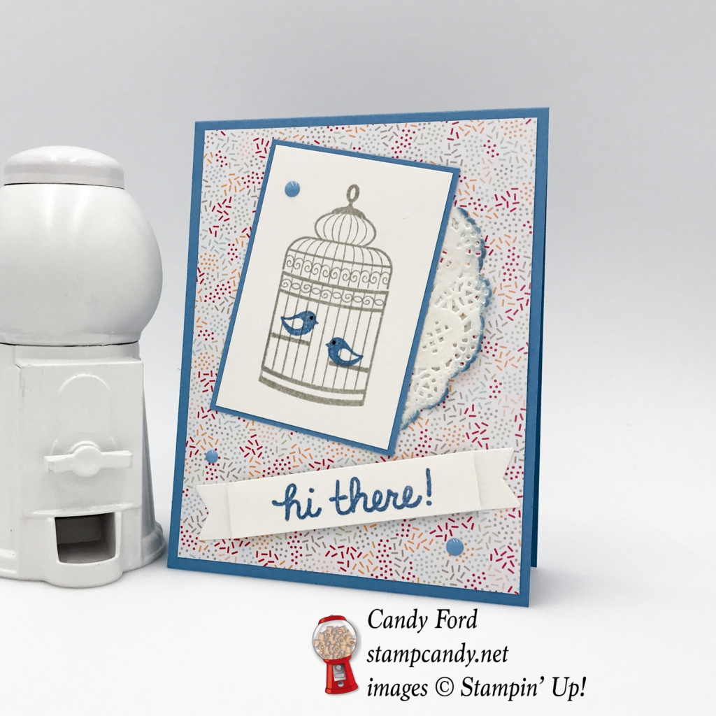 Come to stampcandy.net for instructions on making this adorable card using Builder Birdcage Stamjp set, Tastu Treats Specialty DSP, Cupcake Cutouts Framelits, White Lace Doilies, Subtles Enamel Shapes, Sponge Dauber, #stampcandy