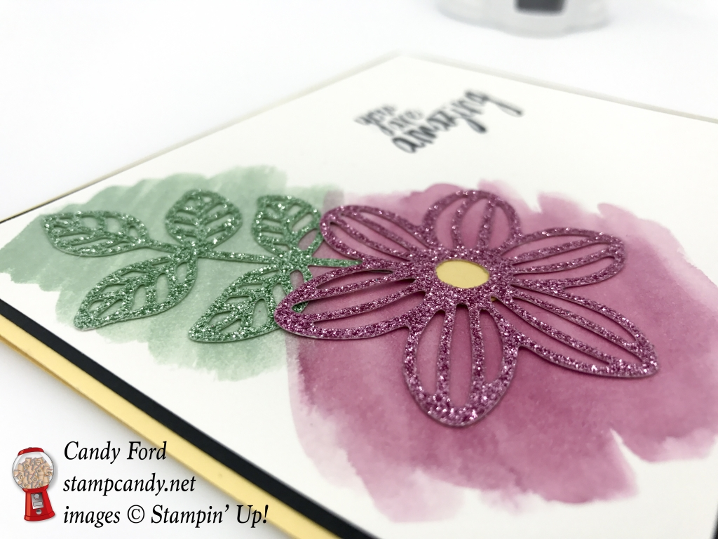 This card is super easy to make with the All Things Thanks stamp set, 6x6 Glimmer Paper Assortment, Flourish Thinlits and May Flowers Framelits dies by Stampin' Up! #stampcandy