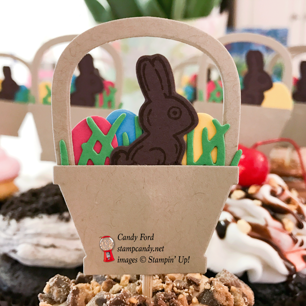 Top your Easter cupcakes with these easy Easter baskets full of eggs and a chocolate bunny. Basket Bunch Bundle, Stampin' Up! #stampcandy