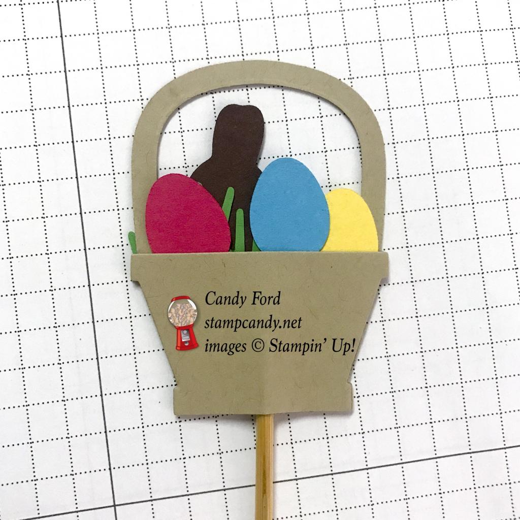 Back of Easter Basket cupcake topper - Basket Bunch Bundle, Stampin' Up! #stampcandy #candyhearts