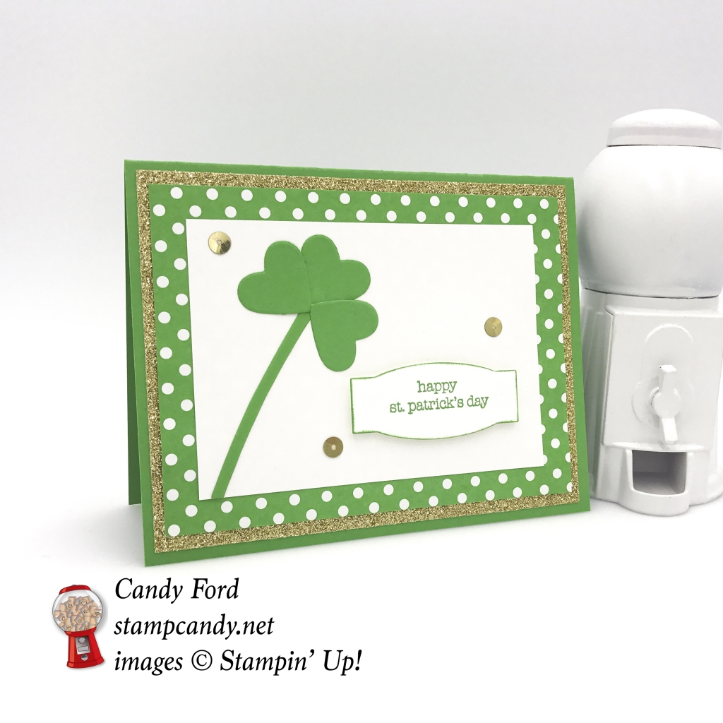 Wish everyone a Happy St Patrick's Day with this quick and easy card, Teeny Tiny Wishes stamp set, Sweet & Sassy Framelits, Project Life Cards & Labels Framelits, Gold Glimmer Paper, Stampin' Up! #stampcandy