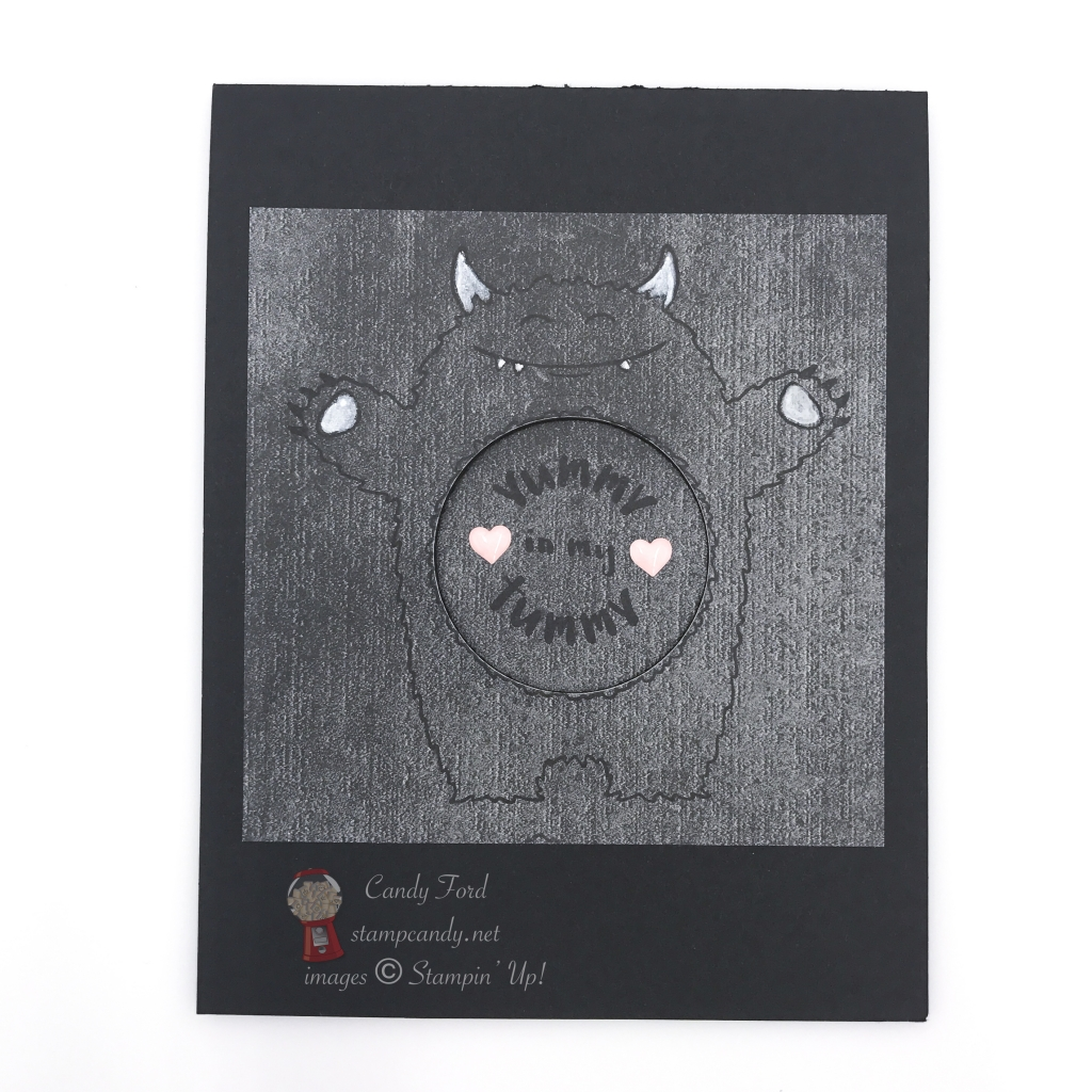 Cute little cuddly monster has a tummy full of love. Yummy in My Tummy stamp set by Stampin' Up! #stampcandy