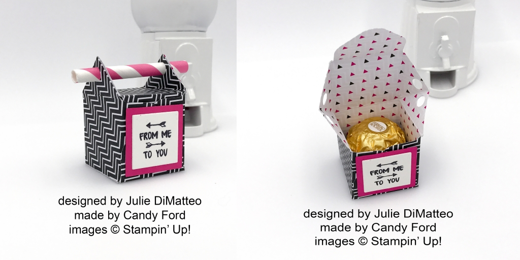 Tiny box by Julie DiMatteo for one Ferrero Rocher candy made with Pop of Pink DSP and a straw! Stampin' Up! #stampcandy