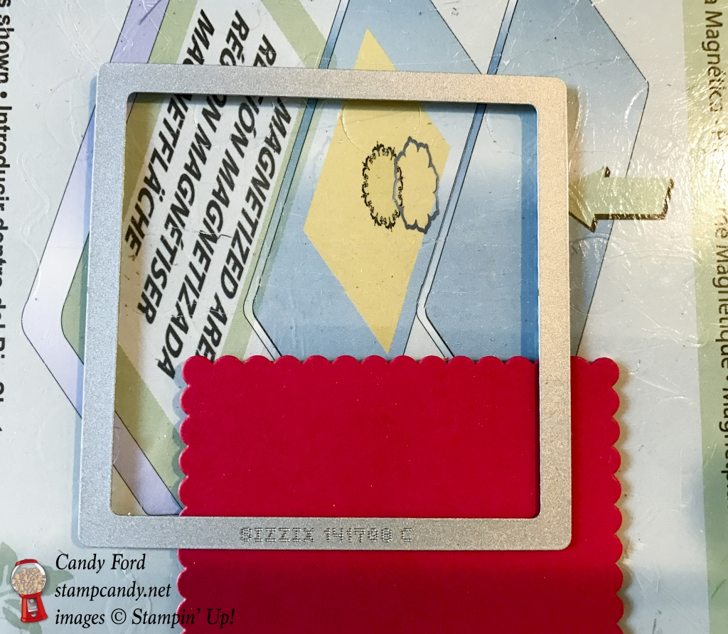How to cut a scalloped rectangle with a scalloiped square die - Layering Squares Framelits by Stampin' Up! #stampcandy