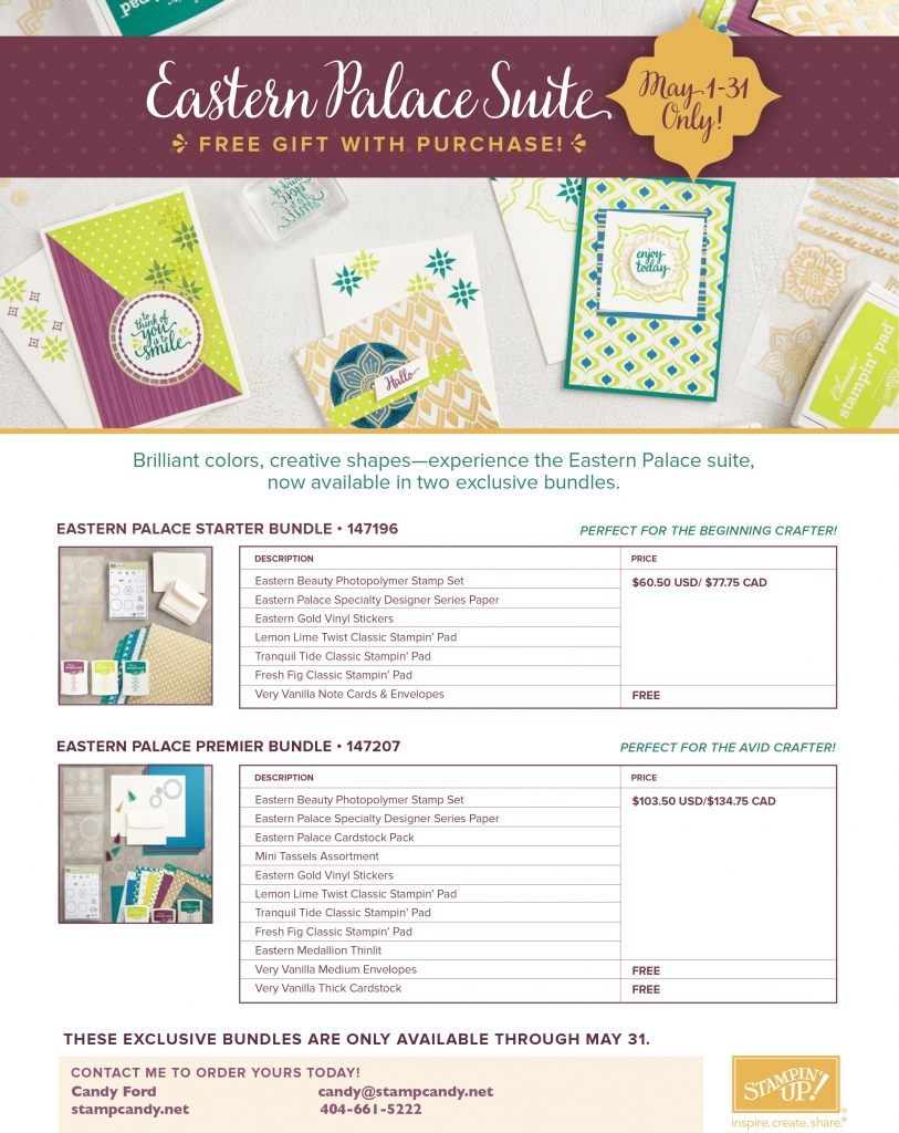 Order the new Eastern Palace Suite May 1-31! Order now if you are a Stampin' Up! Demonstrator! #stampcandy