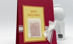Make this card with a bag full of gummy bears using Just Keep Swimming stamp set from Stampin' Up! #stampcandy
