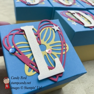 Super quick and easy boxes made using Large Letters Framelits Dies, May Flowers Framelits Dies, and Sunshine Wishes Thinlits Dies by Stampin