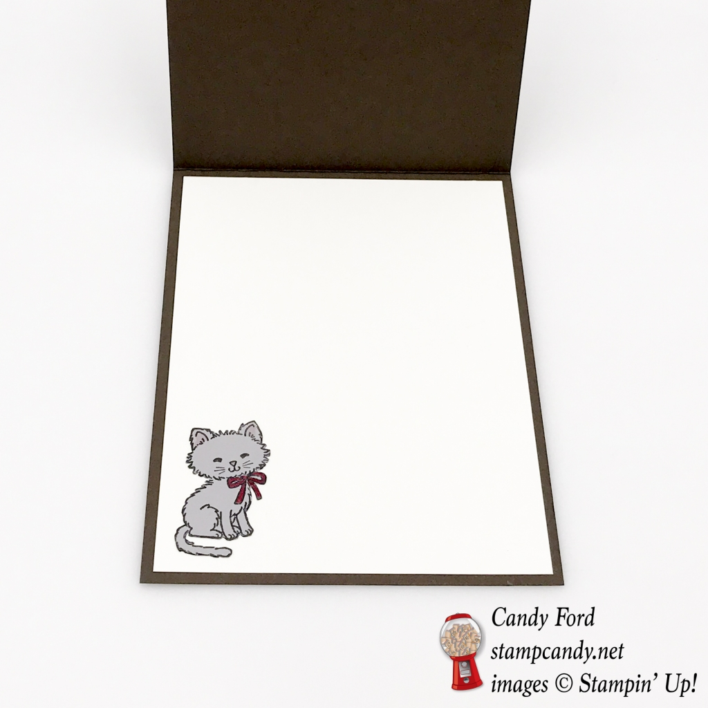 Make this card for a great friend using the Wood Textures DSP, Wood Crate Framelits Dies, and Pretty Kitty stamp set by Stampin' Up! #stampcandy