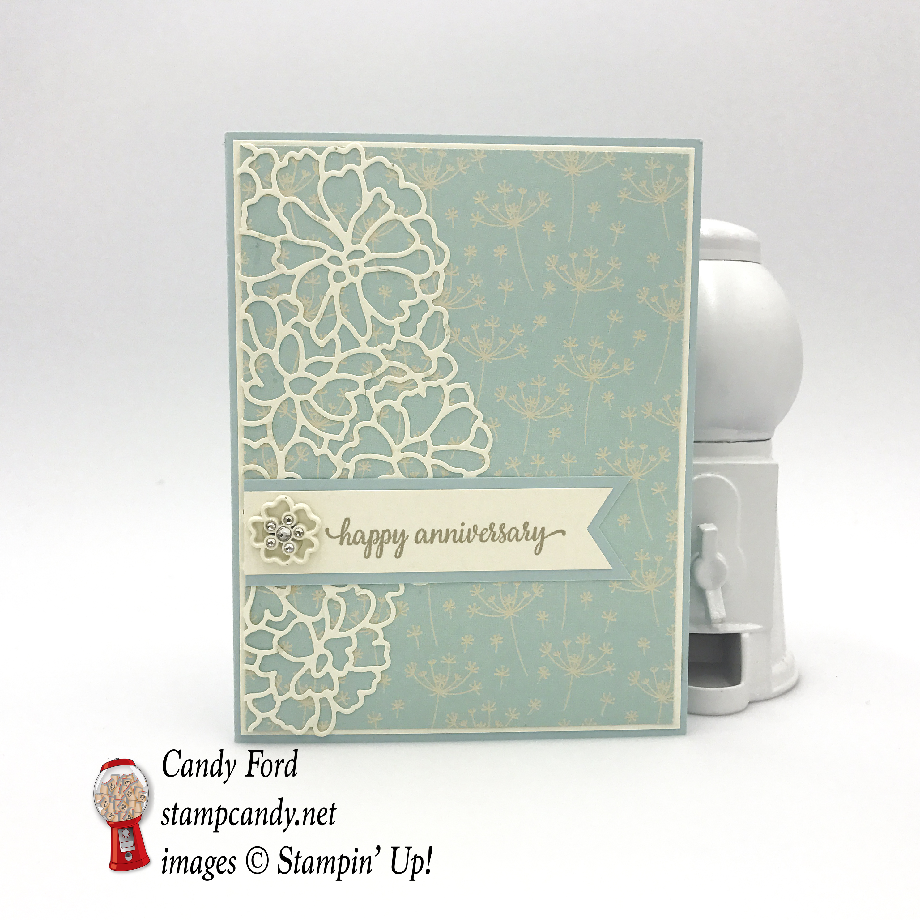 This exquisite Happy Anniversary card is made with the So In Love bundle, stamp set, So Detailed Thinlits Dies, Falling In Love DSP and embellishments by Stampin' Up! #stampcandy