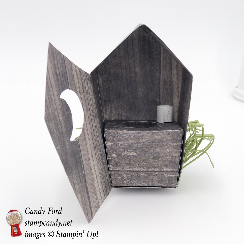 Check out this adorable outhouse made with Wood Textures DSP and Home Sweet Home Thinlits by Stampin' Up! #stampcandy