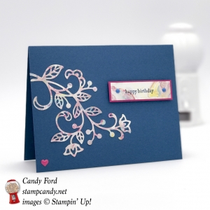 I used the shaving cream marbling technique on this card made with the Flourish Thinlits by Stampin