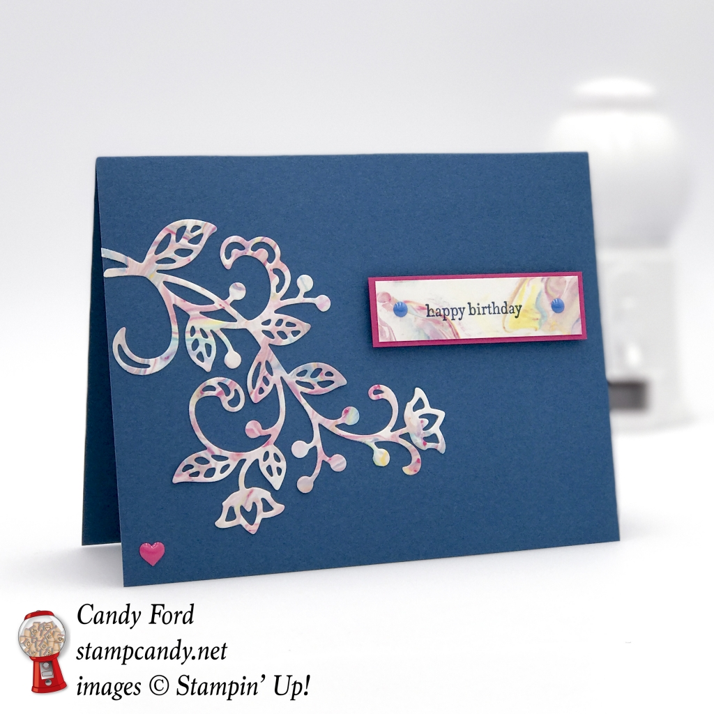 I used the shaving cream marbling technique on this card made with the Flourish Thinlits by Stampin' Up! #stampcandy