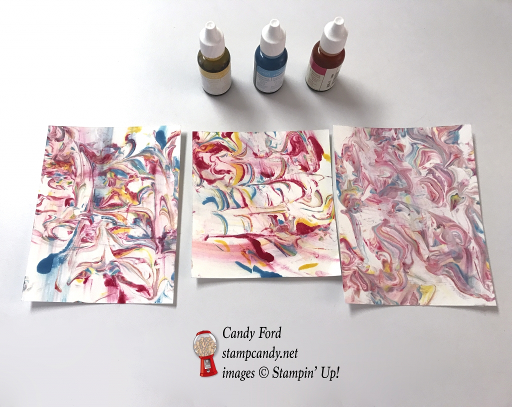 Whisper White card stock I marbled with shaving cream and reinkers. Stampin' Up! #stampcandy