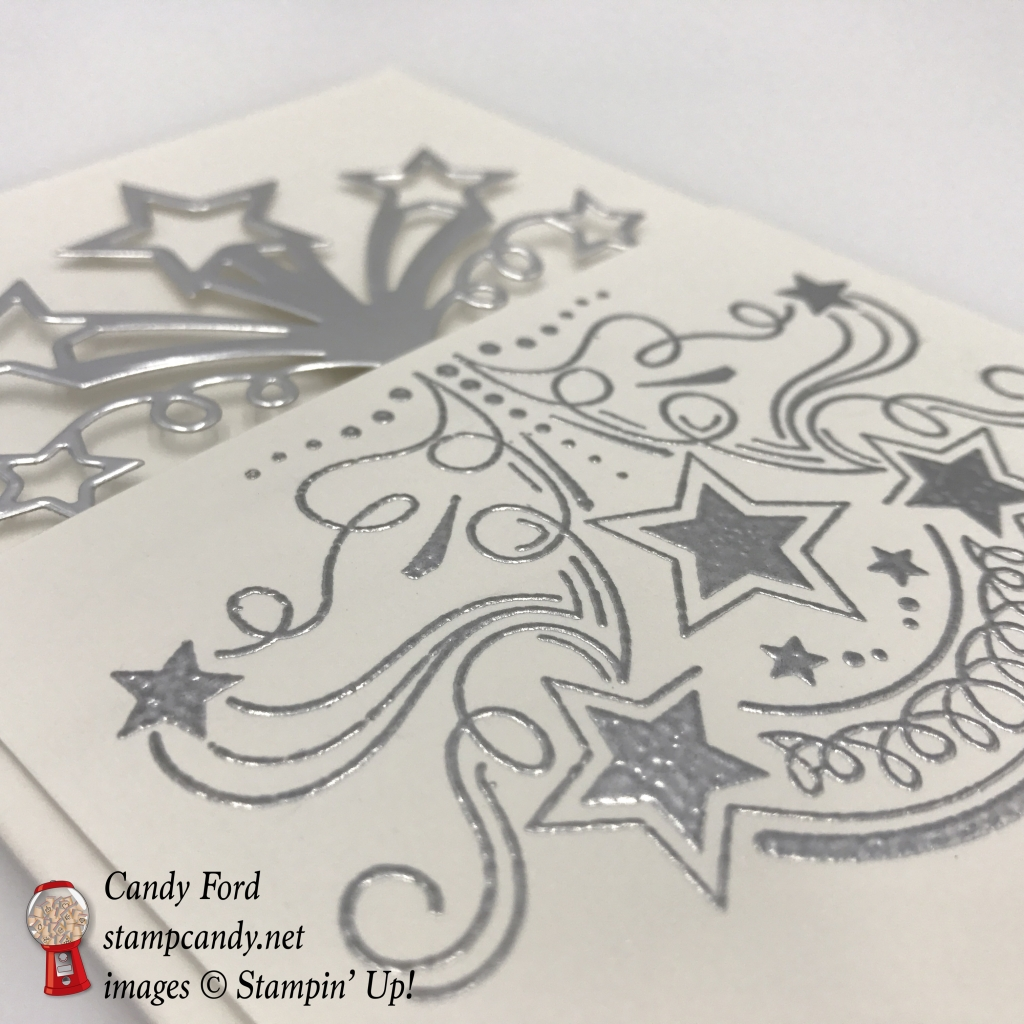 Make this 3/4 card with a spectacular silver Celebration goin' on! Birthday Blast bundle (Birthday Blast stamp set and Star Blast Edgelits dies) by Stampin' Up! #stampcandy