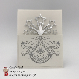 Make this 3/4 card with a spectacular silver Celebration goin