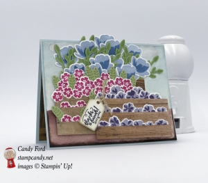 Stacked crates of flowers made with Wood Words stamp set, Wood Crate Framellits, Wood Textures DSP, Jar of Love bundle by Stampin