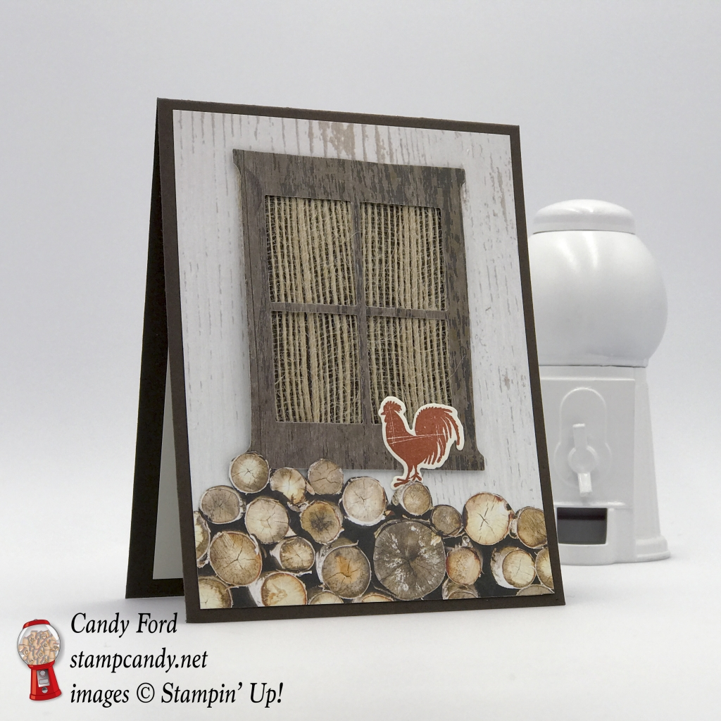 "Rooster in the wood pile on this card for a friend, using Wood Textures Suite by Stampin' Up! Wood Words stamp set, Wood Crate Framelits, Hearth & Home Thinlits, 5/8"" Burlap Ribbon #stampcandy"
