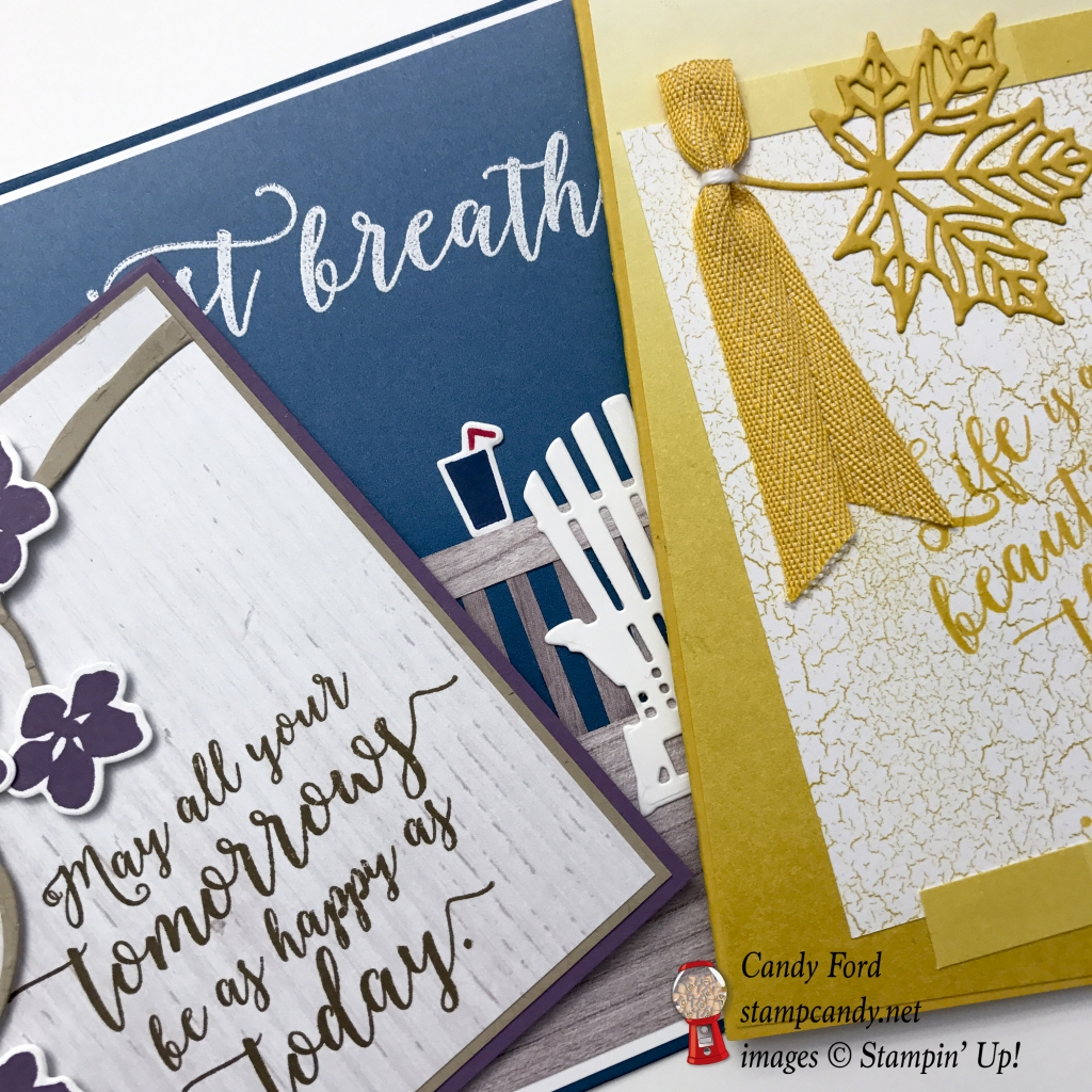 Sneak Peek of the cards you'll make in my Colorful Seasons Card Class. Stampin' Up! #stampcandy