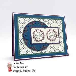 Make this card with the new Eastern Palace Suite: Eastern Beauty stamp set, Eastern Medallions Thinlits dies, Eastern Palace DSP paper, by Stampin
