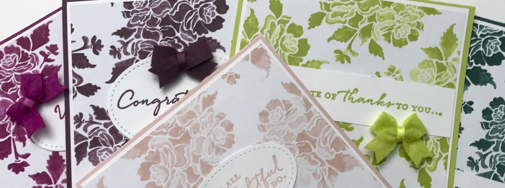 We'll make 5 cards in this class using the Floral Phrases stamp set, Fresh Florals DSP, 2017-2019 In Color Bitty Bows, by Stampin' Up! #stampcandy