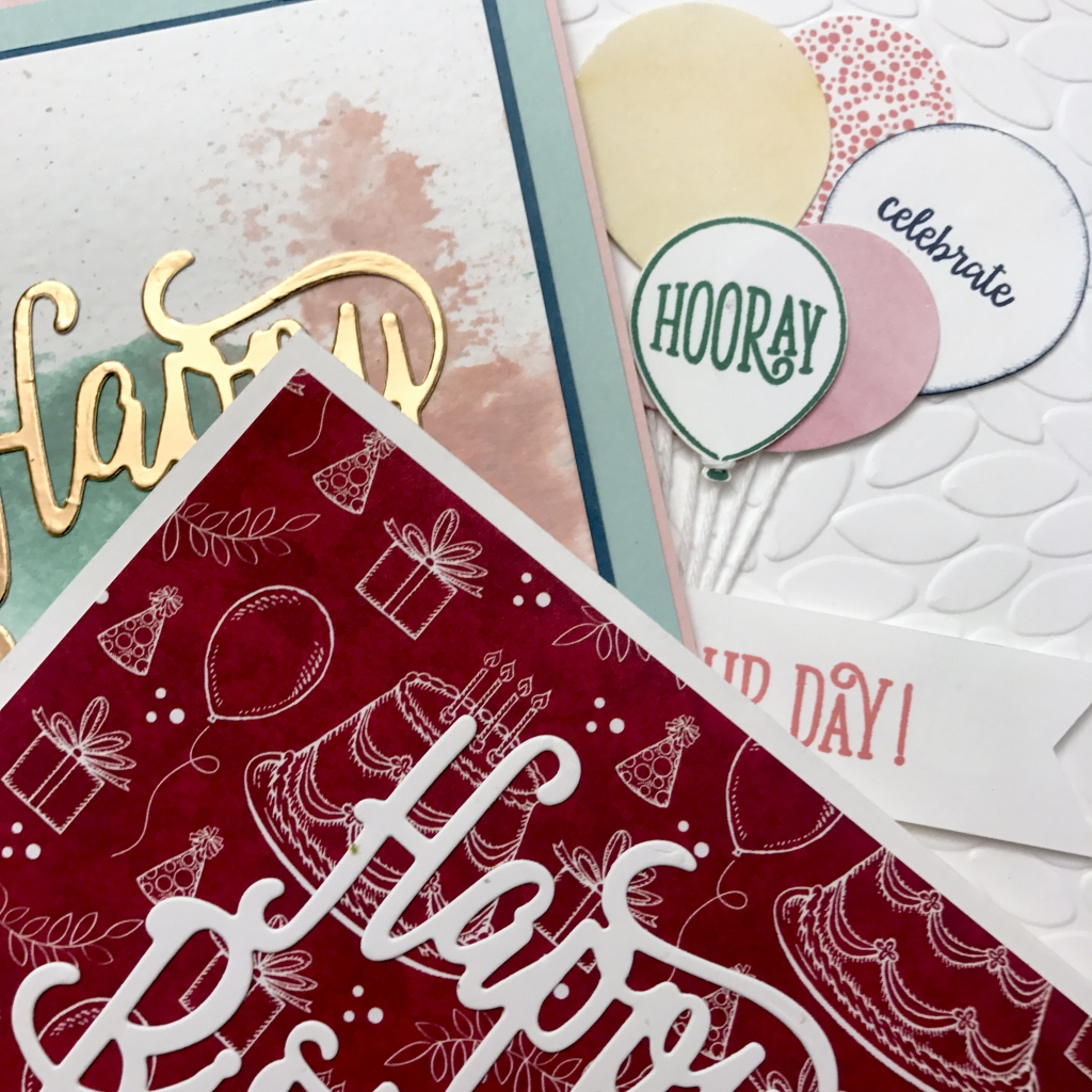 Sneak peek of the cards we'll make in class using the Happy Birthday Gorgeous stamp set and the Happy Birthday Thinlits Die by Stampin' Up! #stampcandy