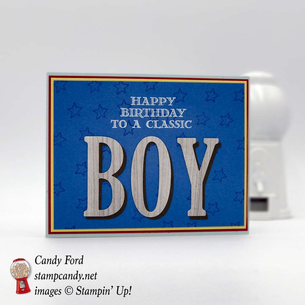 Little boy birthday card made with Wood Crate Framelits Dies, No Bones About It, No Bones About It, Large Letters Framelits by Stampin' Up! #stampcandy