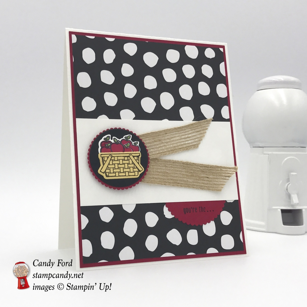 You're the apple of my eye, made with Bike Ride stamp set, Build a Bike Framelits Dies, Whole Lots of Lovely DSP, card Stampin' Up! Candy Ford #stampcandy