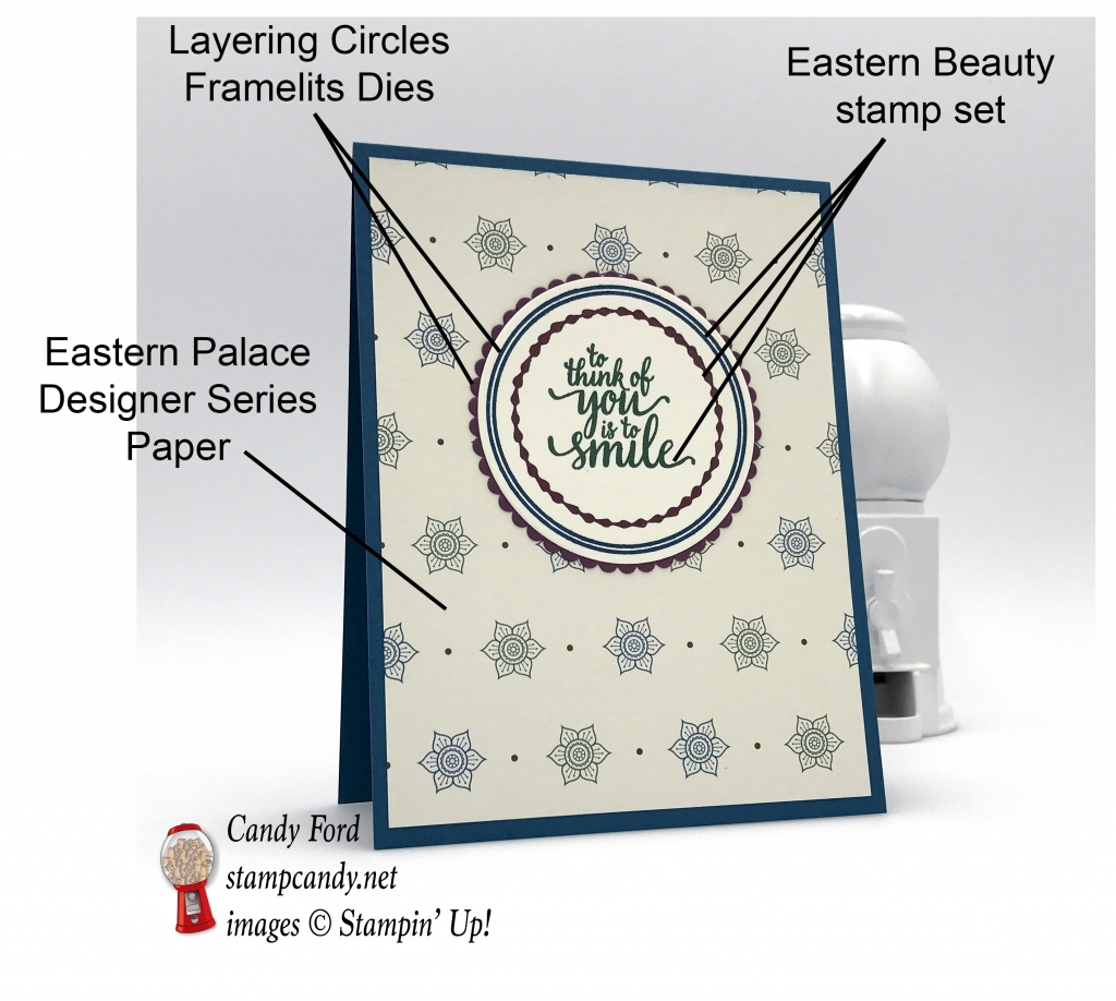 Eastern Palace Designer Series Paper one sheet wonder card, To think of you is to smile, Stampin' Up! #stampcandy