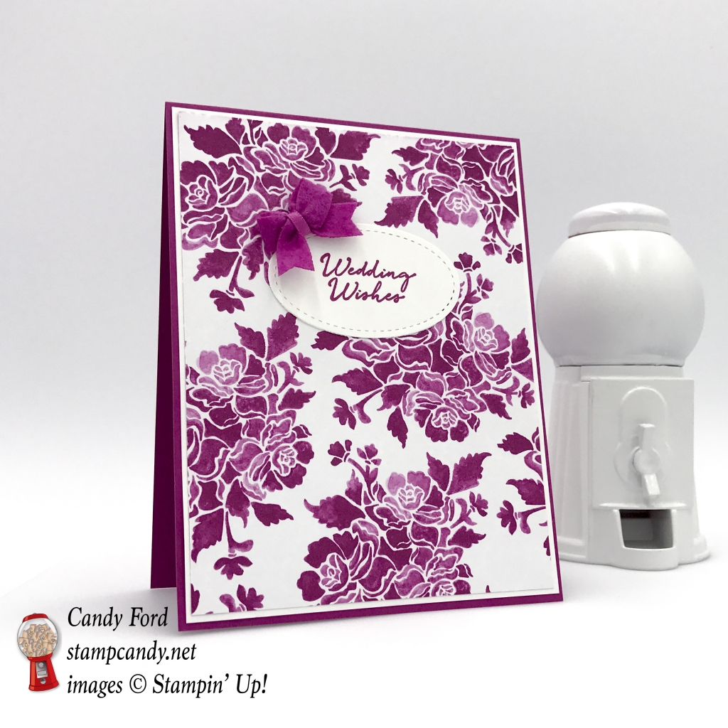 Wedding Wishes card, Floral Phrases stamp set, Fresh Florals DSP, 2017-2019 In Colors Bitty Bows, by Stampin' Up! #stampcandy