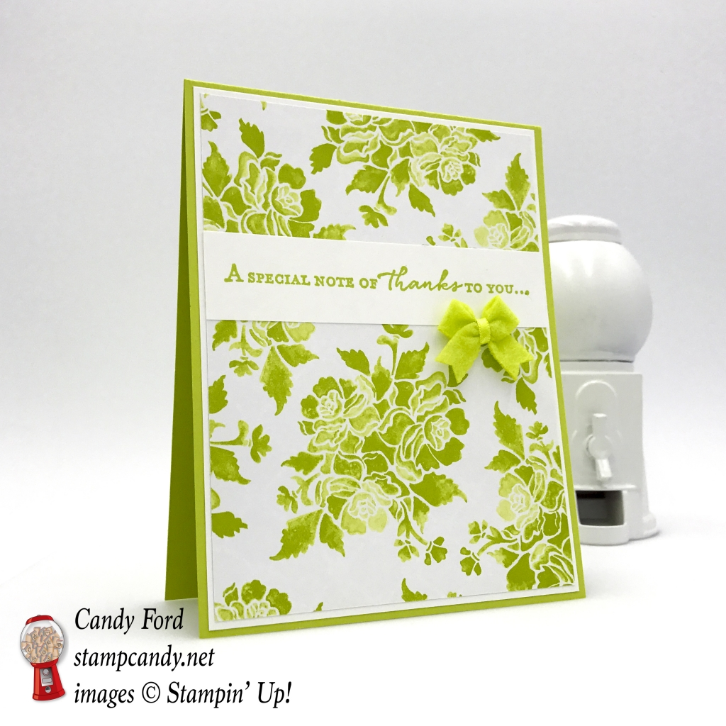 Thank you card, Lemon Lime Twist, Floral Phrases stamp set, Fresh Florals DSP, 2017-2019 In Colors Bitty Bows, by Stampin' Up! #stampcandy