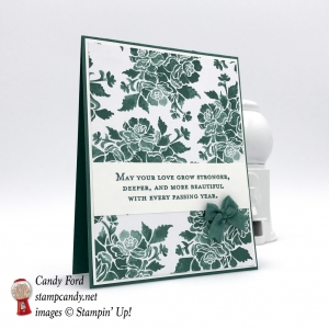 Wedding or Anniversary card, Floral Phrases stamp set, Fresh Florals DSP, 2017-2019 In Colors Bitty Bows, by Stampin