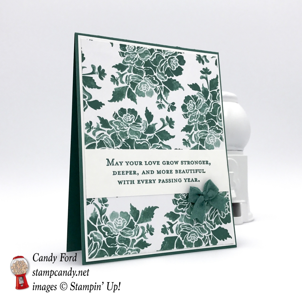 Wedding or Anniversary card, Floral Phrases stamp set, Fresh Florals DSP, 2017-2019 In Colors Bitty Bows, by Stampin' Up! #stampcandy