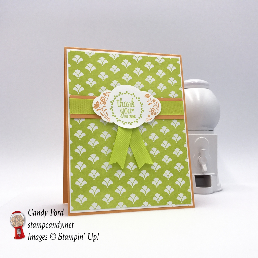 Sweet thank you card made with the Label Me Pretty stamp set, Pretty Label Punch, and Fresh Florals DSP by Stampin' Up! #stampcandy
