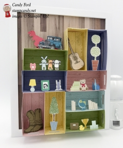 Create a wall of shelves with the Wood Crate Framelits by Stampin